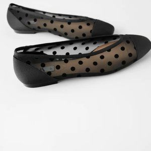 NWT Zara Black Polka Dot Mesh Ballet Flats